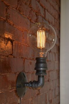 Simple industrial wall sconce / single edison wall light / industrial lighting Wall lamp Wall lamp I Steel Lighting, Industrial Sconce, Industrial Lighting Design, Lights, Steampunk Lighting, Industrial Wall Lights, Industrial Wall Sconce, Wall Sconce Lighting, Vintage Lighting