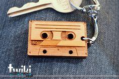 Laser cut and engraved Audio Cassette wood keyring. $12,00, via Etsy.