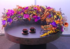 Bright and Exotic Round Tabletop | Purple | Orange | Pink