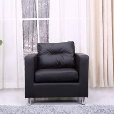 Gold Sparrow Detroit Arm Chair in Black - ADC-DET-CHA-PUX-BLK