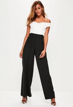 0157380ff27 Black Pleated Waist Wide Leg Trousers Slacks For Women