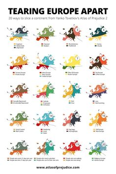 20 Ways to break Europe. Infographie, in Atlas of Prejudice - Volume ©Alphadesigner [Yanko Tsvetkov], Info Board, Atlas, European History, Continents, Fun Facts, Knowledge, Hilarious, World, Random