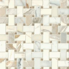Bedrosians Hillcrest Basket Weave Honed Marble Mosaic Tile in Calacatta Oro and Seagrass