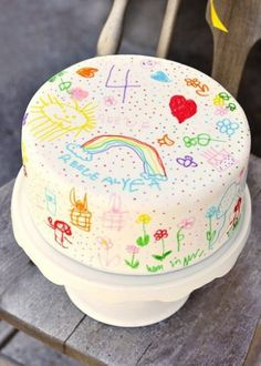 Kid's drawings on cake-might be a good idea for cookies too. Make circles same size as cookie then have the kids draw on their own cookies using food markers....