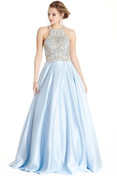 Sleeveless Long Prom Gown APL1723  Full Length A-Line Prom and Evening Gown has Intricate Beading and Gemstones Embellished Halter Bodice with Open Shoulders and Cutout Back with Zipper Closure, Softly Gathered Skirt Completes the Style with Elegance.