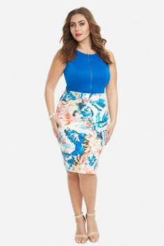 Plus Size Radiant Blossom Pencil Skirt