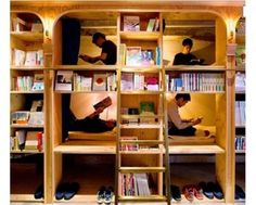 Book and Bed is a library-themed hostel in Tokyo. Here guests sleep in book shelves. It costs around Rs. This hostel believes in book night instead of good night. Bookshelf Bed, Bookshelves, Sleep Box, Capsule Hotel, Tokyo Hotels, Book Cafe, Reading In Bed, Planer, House Plans