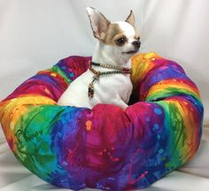 Rainbow Tie Dye  Round Pet Bed  Group One by GroupOneDogGallery