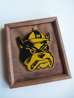 Vintage Bulldog Word Carved Wall Art 1970s by WylieOwlVintage, $18.00