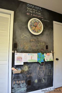 Chalkboard wall for a boy's bedroom by Simplicity In The South.w place for artwork Blackboard Wall, Chalkboard Ideas, Chalkboard Paint, Kids Bedroom, Bedroom Ideas, Bedroom Inspiration, Dream Bedroom, Kids Room Design, Diy Home Improvement