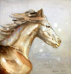 ORIGINAL Watercolor Horse Painting6x7Horse Portrait by asho, $10.00