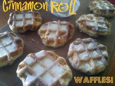 Cinnamon Roll Waffles made from canned cinnamon rolls! Easy to make with a waffle iron. ~ We did this the other day, so easy and yummy! I Love Food, Good Food, Yummy Food, Yummy Yummy, Delish, Cinnamon Roll Waffles, Cinnamon Rolls, Breakfast Items, Breakfast Dishes