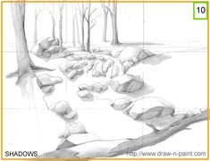 10th Step. Art information on shading of the art elements in the composition. http://www.draw-n-paint.com/ArtLesson/ForestSunlight/Pencil_Forest_Sun_Rays.htm