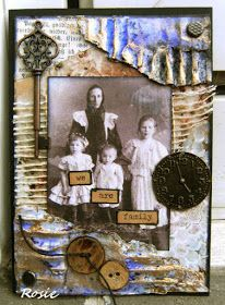 Rosie's Bastelwelt: Family - Mixed Media for a swap over at Facebook and for Try It On Tuesday  - Vintage Photo.