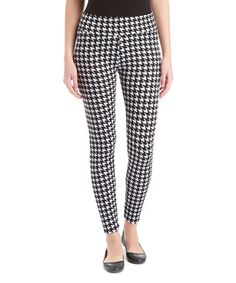 Look what I found on #zulily! Black & White Houndstooth Skinny Pants #zulilyfinds