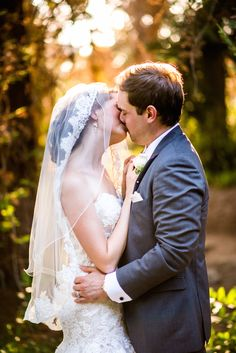 Love the stunning bride and groom! View the full wedding here: http://thedailywedding.com/2015/12/21/beautiful-garden-and-redwoods-wedding-sabrina-jeremy/
