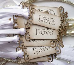 Wedding Favor Tags With Love  Set of 75 Vintage Look  by amaretto, $105.00