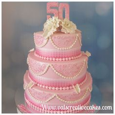 Pink tones for this 50th birthday cake