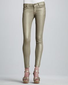 Krista Gold Super Skinny Jeans by Hudson at Neiman Marcus.