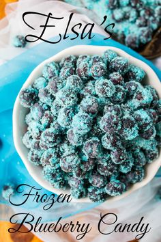 Elsa's Frozen Blueberry Candy! This is perfect to serve at a Frozen birthday party, or eat as a snack any day, because who doesn't want healthy candy?