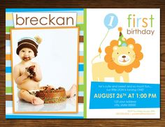 Sweet at One Lion Boy Birthday Invitation Photo by DesigningFinch, $15.00