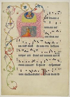Manuscript Leaf with Initial A, from a Gradual Date: second quarter 15th century Geography: Made in probably Mainz, Germany Culture: German Medium: Tempera, ink, and metal leaf on parchment Dimensions: 19 5/8 x 14 5/16in. (49.8 x 36.4cm) Other (Stave Height): 1in. (2.6cm) Mat: 28 × 22 in. (71.1 × 55.9 cm)