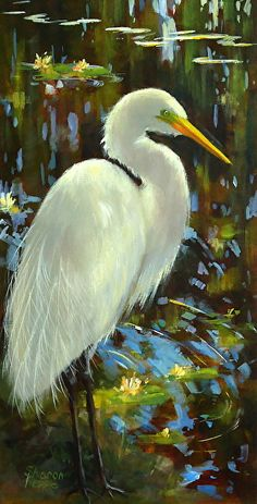 Great White Egret by Sharon Repple Acrylic ~ x bird art Sea Birds, Wild Birds, White Egret, Bird Drawings, Horse Drawings, Tropical Birds, Coastal Art, Big Bird, Wildlife Art