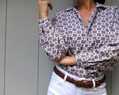 Vintage Tops, Button Down Shirt, Men Casual, Mens Tops, Shirts, Etsy, Shopping, Fashion, Moda