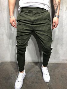 the latest d4ac8 276fe Men Casual Stripes Short Trousers Side Band Pants - Green 3821 - FASH STOP  Moda Masculina