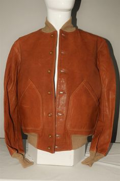 Bills Khakis x Cockpit USA Cognac Brown Leather Flight Jacket SZ M #billskhakis #FlightBomber