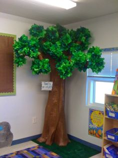 I was going to be really clever and do a Flashback Friday post about my DIY Tree that my rock star of a husband and I built 3 years ago fo.The best Classroom tree ideasdodd it up: diy treeYou could use green tissue paper pompoms. Easy to DIY - just f Paper Tree Classroom, Classroom Decor, Forest Theme Classroom, Diy Tree, Paper Mache Tree, Diy 2019, Fake Trees, Crafts For Kids, Diy Crafts