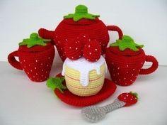 Crochet Pattern - STRAWBERRY TEA SET- Toys - pdf  (00448)