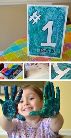 Number One Dad - Super Simple Finger Painting Card for Kids to Make for Father's Day *This is so cute!