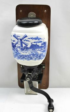 Dutch Countryside Windmill vintage Ceramic Wall Mount Coffee Grinder Delft style