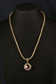 Purple & Gold Swarovski Crystal Necklace   Pretty Shiny Beads Swarovski Crystal Necklace, Swarovski Crystals, Beaded Necklace, Pendant Necklace, Purple Gold, Beautiful Necklaces, Abs, Pretty, Silver