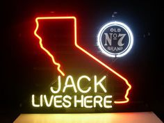 Jack Daniels Lives Here California Neon Sign Real Neon Light
