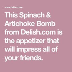 This Spinach & Artichoke Bomb from Delish.com is the appetizer that will impress all of your friends. Finger Food Appetizers, Best Appetizers, Appetizer Dips, Appetizer Recipes, Finger Foods, New Recipes, Favorite Recipes, Bread Recipes, Cooking Recipes