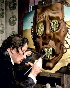 Salvador Dali working on his painting -The Face of War, 1940.