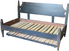 Primitive Day Wooden Bed With Trundle Black On Java Paint Handmade To Order