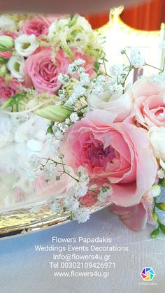 flowers4u.gr Flowers Papadakis : στολισμός γάμου με εκατοντάφυλα μυρωδάτα τριαντάφυλλα garden rose David Austin Luxury Collection