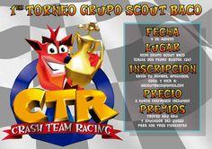 Cartel para el Primer torneo del videojuego Crash Team Racing organizado por el Grupo Scout Baco (Socuéllmos)