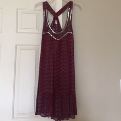 En Creme purpley/red bohemian dress size Small Worn once, purpley red En Creme dress purchased from Urban Outfitters. Great dress that can be worn down with a denim coat or great for going out with some fun, gladiator sandals. It's size Small. Feel free to make an offer, not looking to trade right now. Thanks for looking! Urban Outfitters Dresses Mini