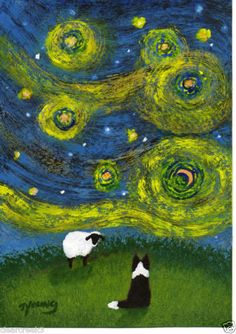 Border Collie Dog Van Gogh folk Art PRINT Todd Young painting STAR FILLED NIGHT #OutsiderArt