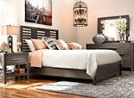 Looking to inject some style into your restful retreat? The Rhea 4-piece king bedroom set will deliver what you're looking for in spades. Its beautiful oak veneers and exposed wood grain are presented on frames featuring contemporary design elements like elongated drawer pulls. Plus, the nightstand offers touch lighting for convenience in the dark.