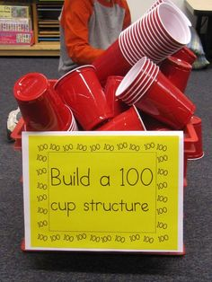 cute idea for the day of school--building a 100 cup structure. A great way to get kids' creativity flowing!Super cute idea for the day of school--building a 100 cup structure. A great way to get kids' creativity flowing! 100s Day, 100 Day Celebration, Hundred Days, E Mc2, Stem Activities, Teaching Activities, After School Club Activities, Movement Activities, 100 Days Of School Centers