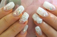 wedding nail design white