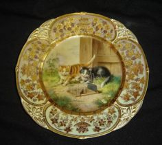 Antique-Royal-Vienna-Jeweled-Plate-Cats-and-Mouse-Rare-Palais-Royal-Habana-C1900