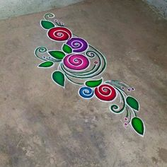 Flowers Design Drawing Stencil New Ideas Rangoli Designs Latest, Rangoli Designs Flower, Rangoli Border Designs, Colorful Rangoli Designs, Rangoli Designs Diwali, Rangoli Designs Images, Beautiful Rangoli Designs, Flower Designs, Kolam Rangoli