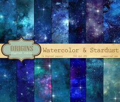 Watercolor and Stars Digital Paper by Origins Digital Curio on Creative Market