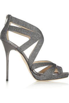 Jimmy Choo|Glitter-finished leather sandals|NET-A-PORTER.COM